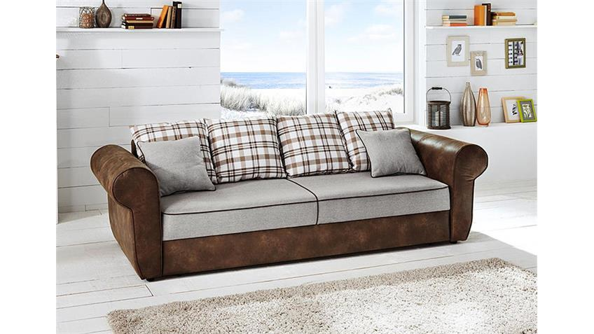 schlafsofa landini sofa dauerschl ger in braun beige wei. Black Bedroom Furniture Sets. Home Design Ideas