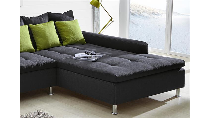 ecksofa montego sofa mit ottomane dunkelgrau kissen gr n. Black Bedroom Furniture Sets. Home Design Ideas