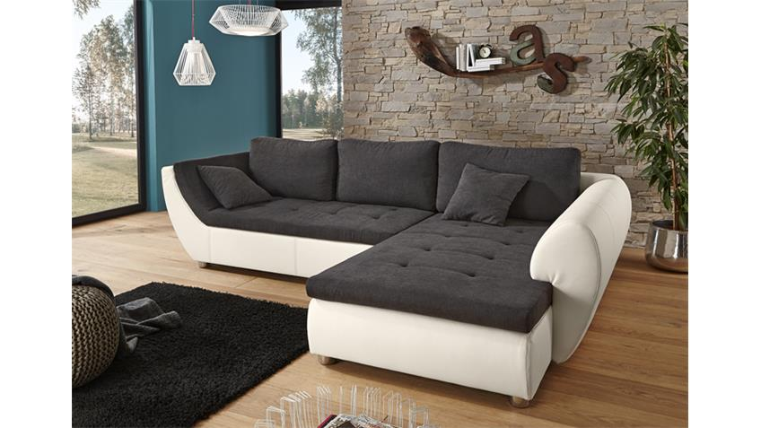 ecksofa wohnlandschaft avus wei microfaser grau. Black Bedroom Furniture Sets. Home Design Ideas