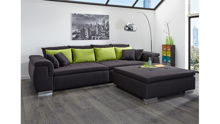 Big Sofa BIG POINT Stoff dunkelgrau Kissen grün