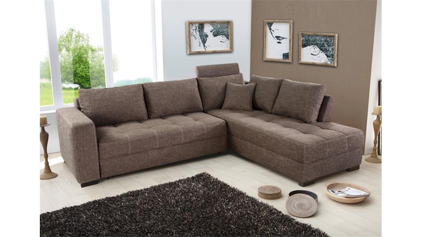 Ecksofa AURA Strukturstoff grau braun mit Gästebett
