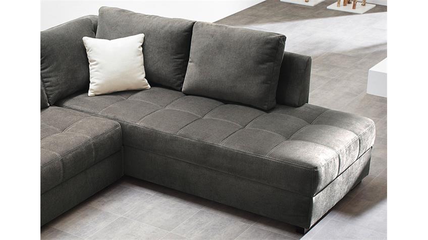 Ecksofa AURA Microfaser grau mit Gästebett und Bettkasten