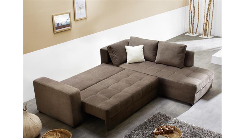 Ecksofa AURA Microfaser braun mit Gästebett und Bettkasten