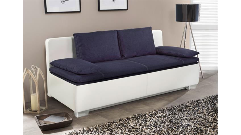 Schlafsofa DUETT in weiß mit Flachgewebe blau -> Produktvideo