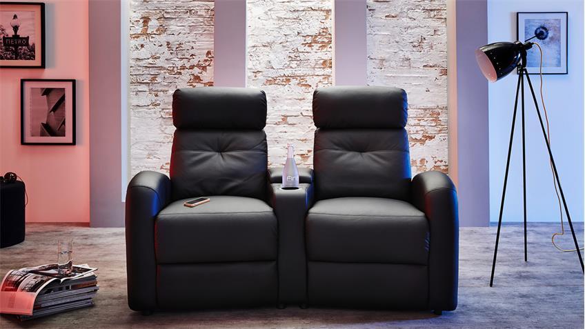 Cinema Sessel 2er HOUSTON in schwarz mit Getränkehalter