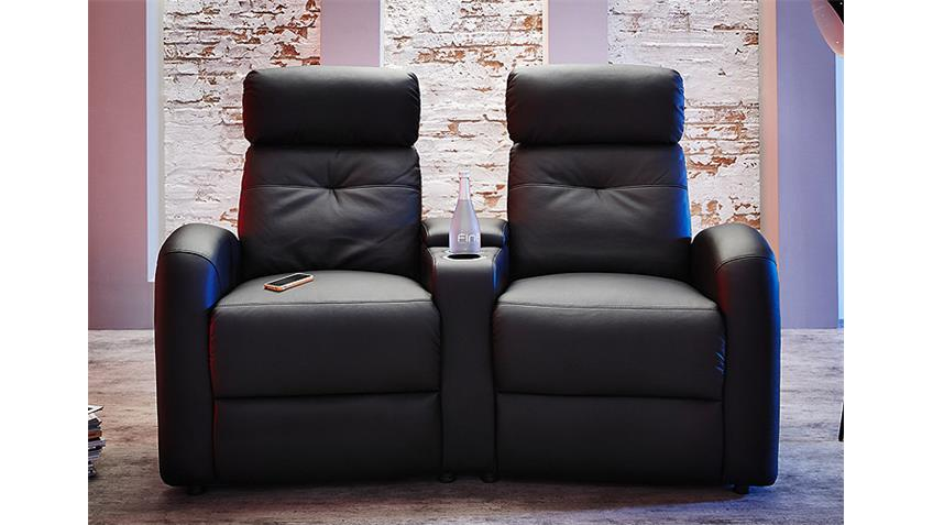 sofa 2er cinema houston lederlook schwarz. Black Bedroom Furniture Sets. Home Design Ideas