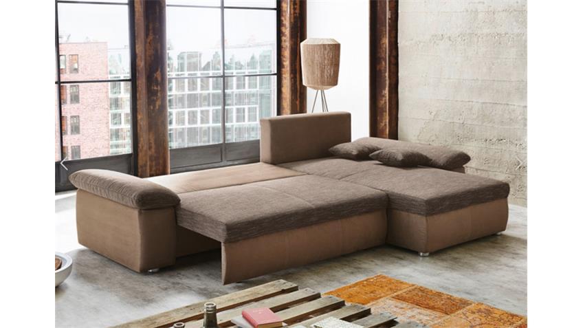 Ecksofa BRÜGGE Strukturstoff braun Gästebett mit Bettkasten