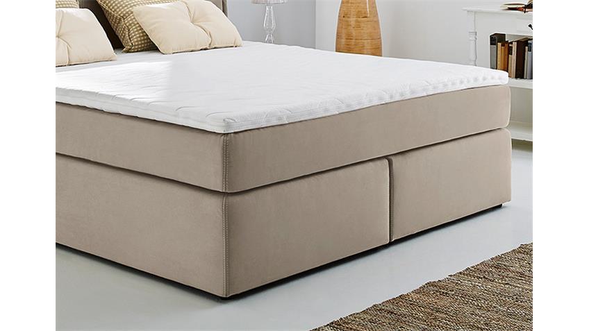 Boxspringbett ASCOLI Bett in beige mit Tandembezug 180x200
