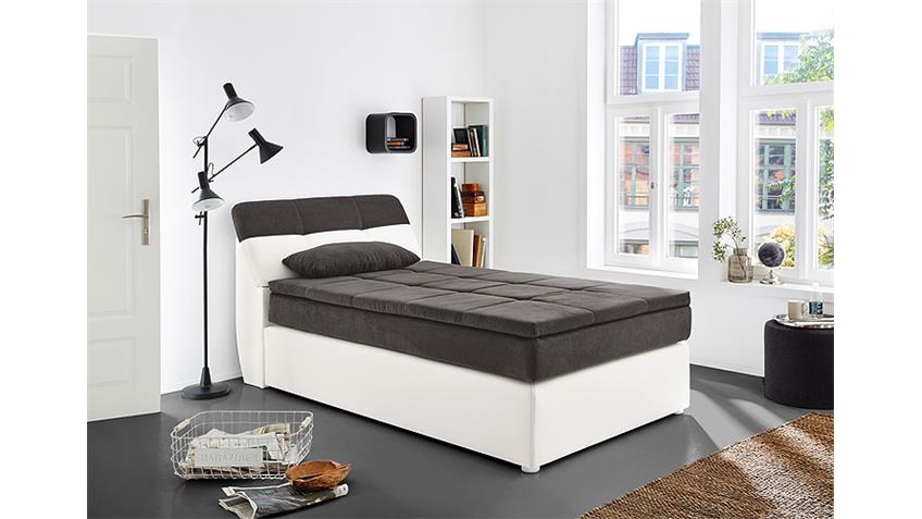 boxspringbett odessa bett in wei grau mit topper 120x200. Black Bedroom Furniture Sets. Home Design Ideas
