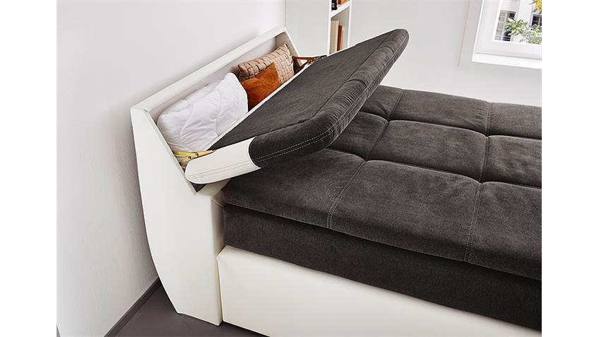 Boxspringbett ODESSA Bett in weiß grau mit Topper 120x200