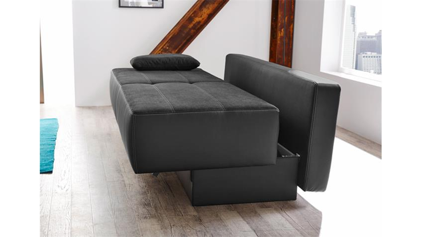 Funktionssofa VENEDIG Schlafsofa Sofa in schwarz Bettkasten