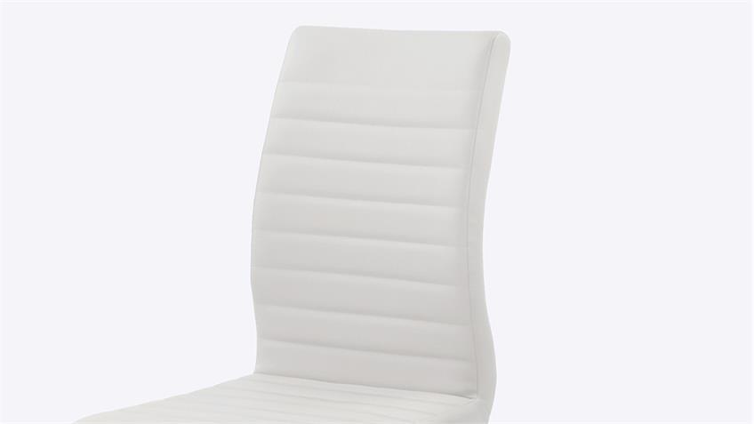 Schwingstuhl PRAG 4er-Set in weiß Gestell verchromt