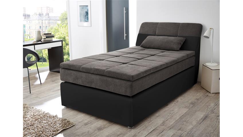Boxspringbett ODESSA Bett in schwarz grau mit Topper 120x200