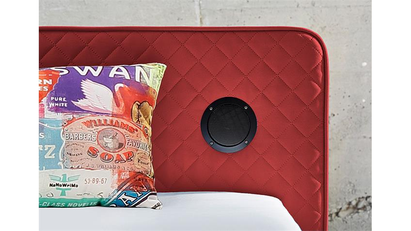 Boxspringbett SARDINIEN Bett in rot mit Audiosystem 140x200