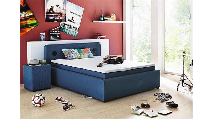 Boxspringbett SARDINIEN Bett in blau mit Audiosystem 140x200
