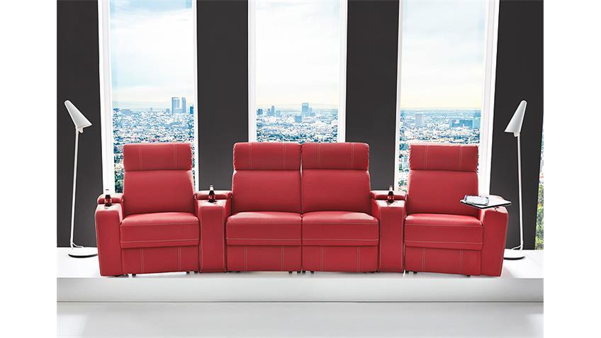Cinema Sessel HOLLYWOOD 4er Kinosessel in rot