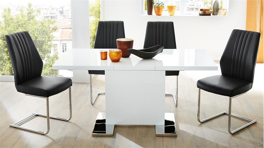Tischgruppe PAMELA LONDON weiß Hochglanz und schwarz