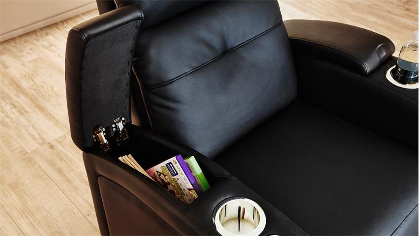 Cinema Sessel HOUSTON 1 in schwarz mit Getränkehalter