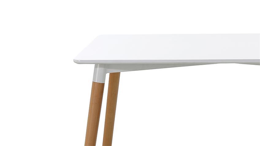 Esstisch GRÖNLAND 2 weiß lackiert Beine massiv Buche 120x80