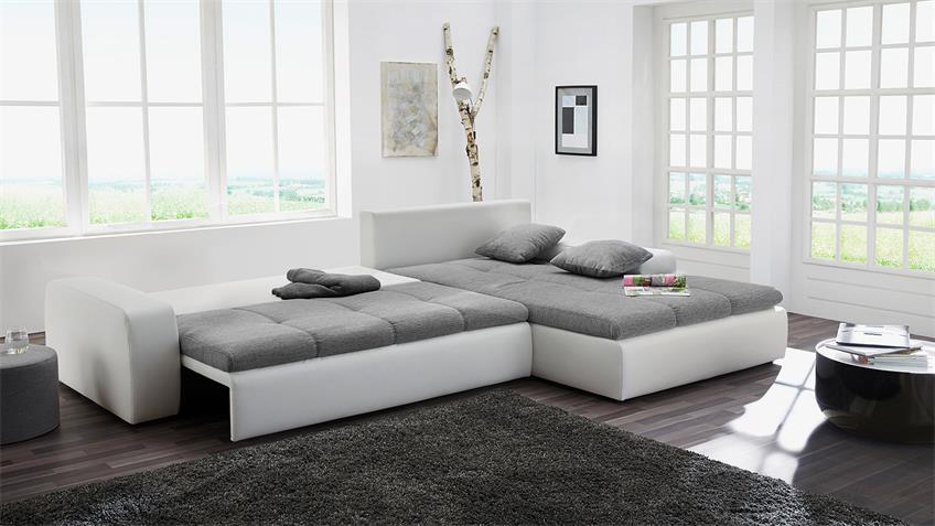 Wohnlandschaft AURICH Ecksofa in weiß grau mit Bettfunktion