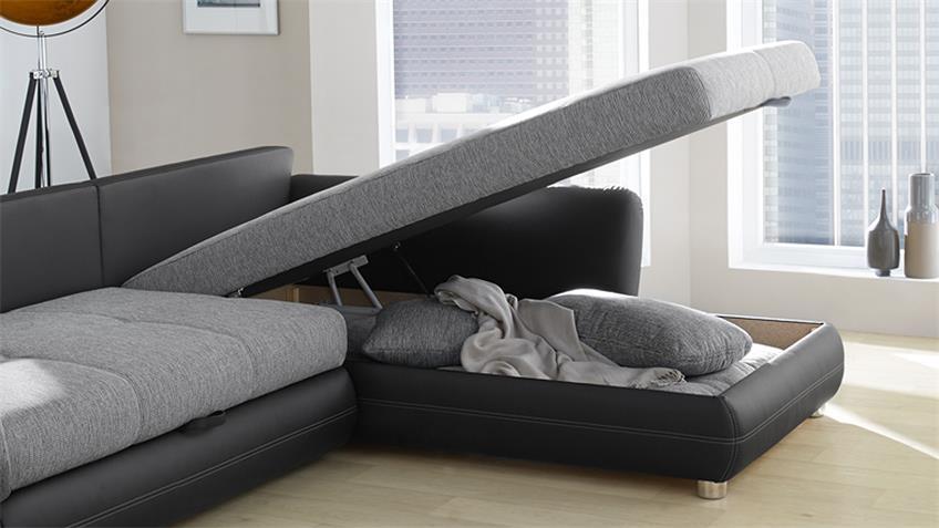 Wohnlandschaft JAVA Ecksofa schwarz grau mit Bettfunktion