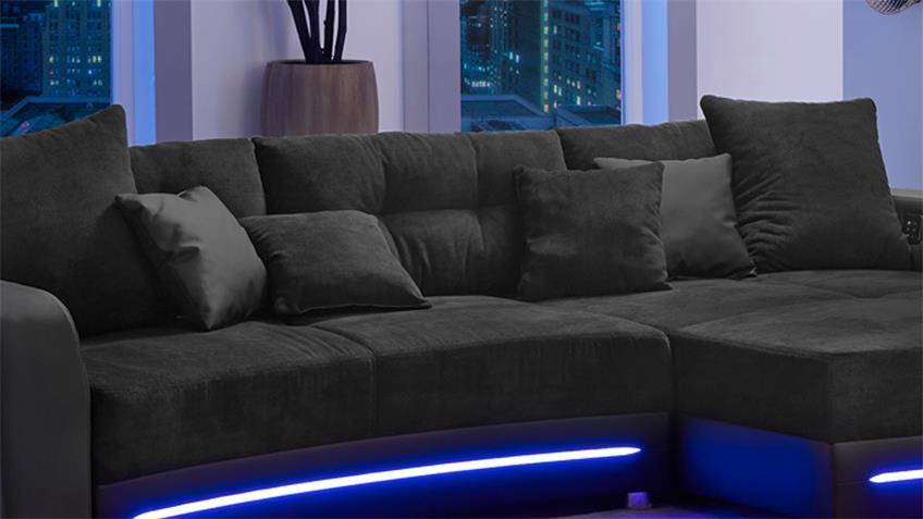 Wohnlandschaft LAREDO Sofa schwarz mit LED und Soundsystem