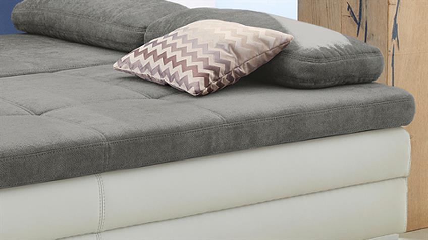 Dauerschläfer LINCOLN Schlafsofa Sofa in weiß grau mit Topper