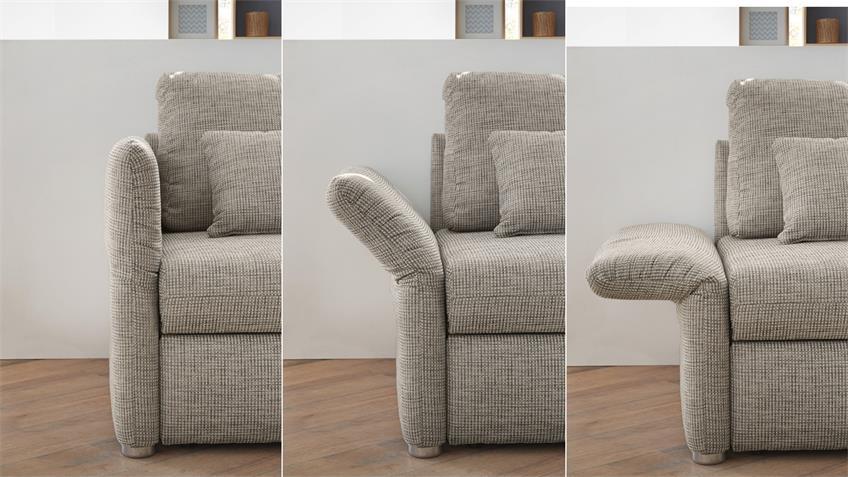 Funktionssofa LUCA Sofa in grau mit Bettfunktion 160 cm