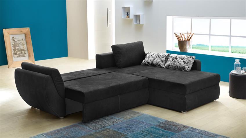 Wohnlandschaft TAIFUN Ecksofa Sofa schwarz Bettfunktion