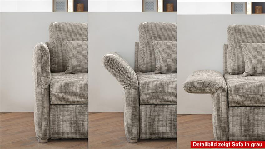 Funktionssofa LUCA Sofa in greige mit Bettfunktion 140 cm