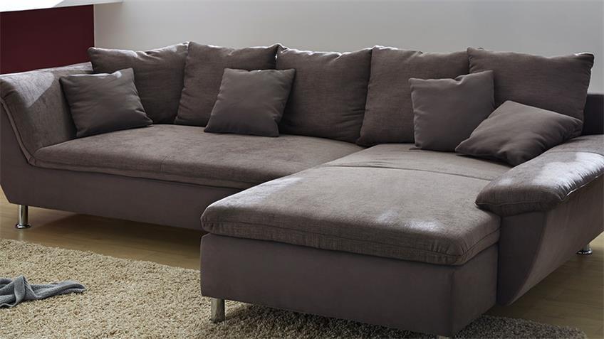 Wohnlandschaft AMARILLO Ecksofa Sofa in braun 295 cm