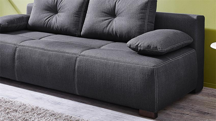 Funktionssofa Cadiz Schlafsofa in dunkelgrau Bettfunktion