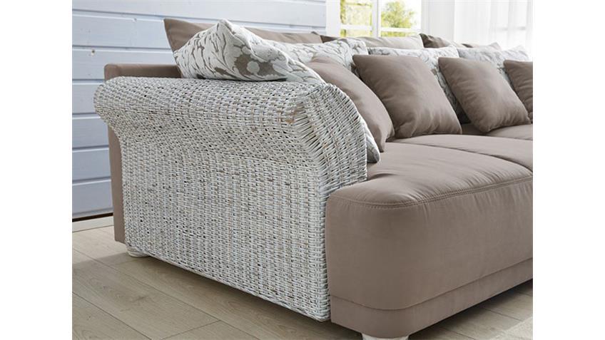 Sofa SAVENNA in Vintage weiß greige Rattan