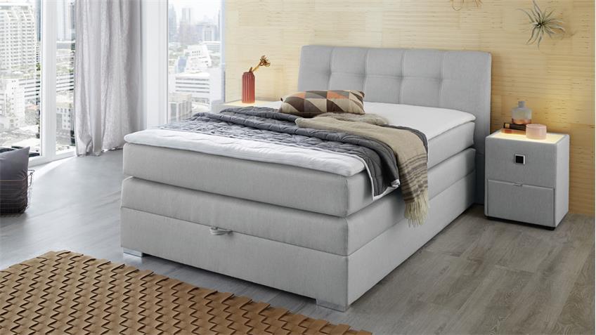 boxspringbett amelie 140 hellgrau mit bettkasten topper. Black Bedroom Furniture Sets. Home Design Ideas