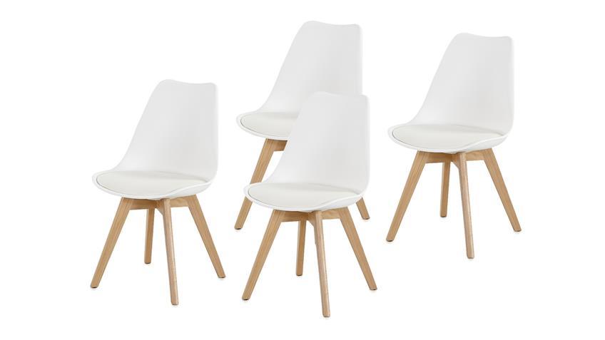 Stuhl BORKUM 4er Set Kunststoff weiß Beine in Buche massiv