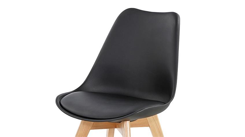 Stuhl BORKUM 4er Set Kunststoff schwarz Beine Buche massiv