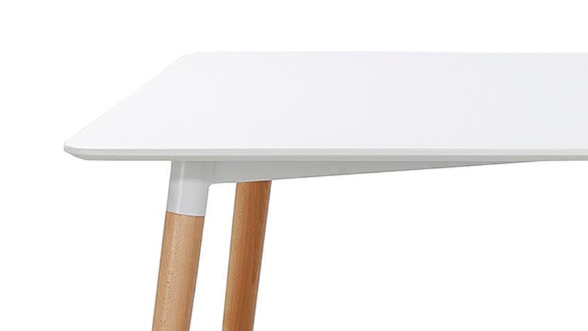 Esstisch GRÖNLAND 3 weiß lackiert Beine massiv Buche 150x90