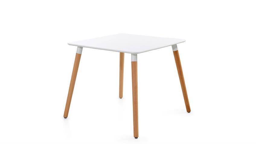 Essgruppe mit Tisch Grönland 80x80 und 4 Stühle Borkum schwarz