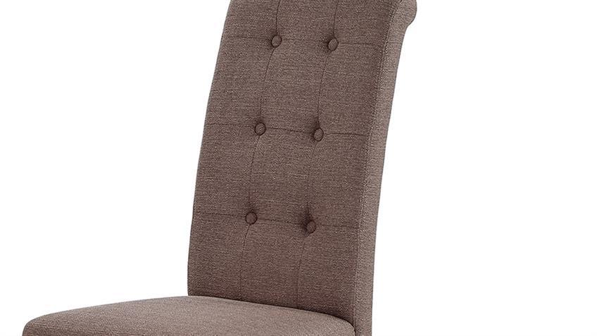 Polsterstuhl LEVIN 2er Set Esszimmerstühle in braun mit Nosagfedern