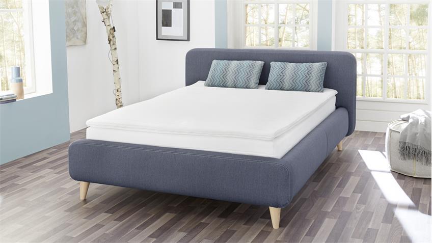 Boxspringbett FRIEDA 140x200 Bett in blau Bonell-Federkern