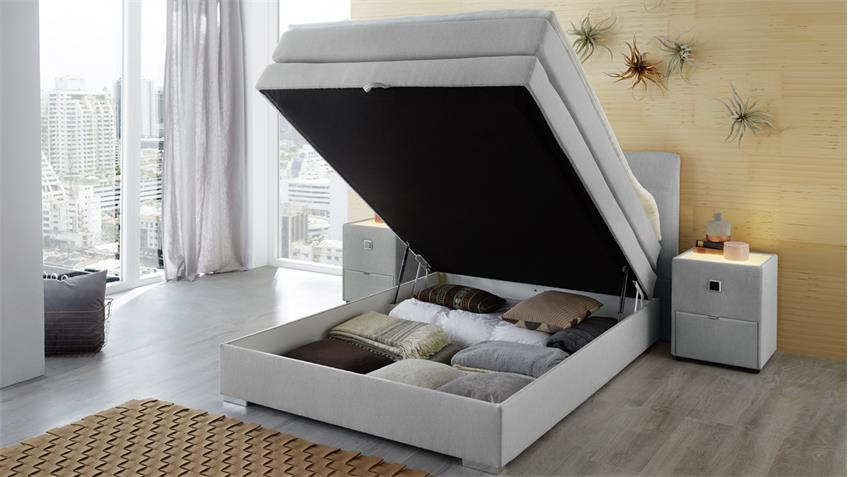 boxspringbett amelie 140 hellgrau mit bettkasten topper. Black Bedroom Furniture Sets. Home Design Ideas