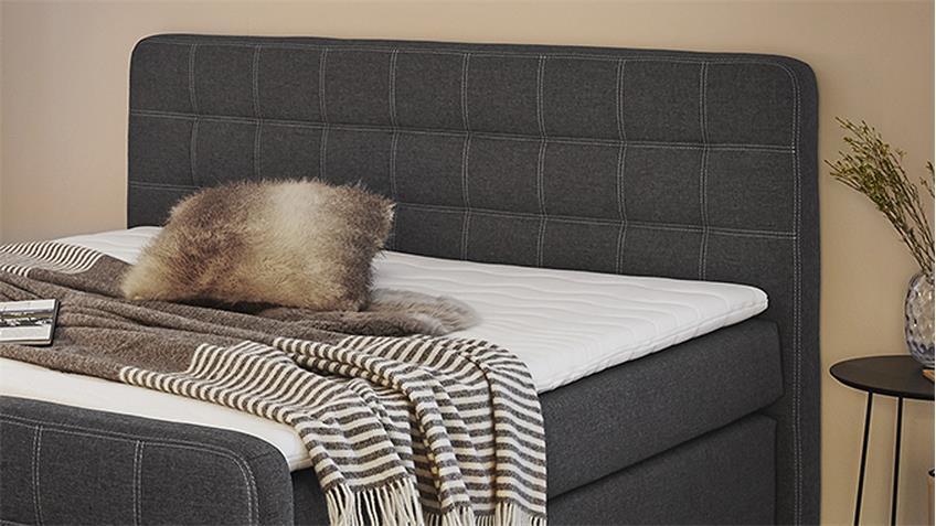 Boxspringbett JOY 180x200 Bett grau-braun inkl. Topper