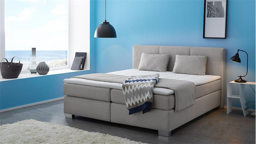 Boxspringbett FELICITA Bett Schlafzimmerbett in braun beige mit Topper