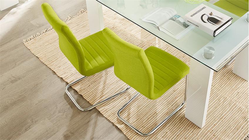 Schwingstuhl PRAG 4er-Set in grün Gestell verchromt