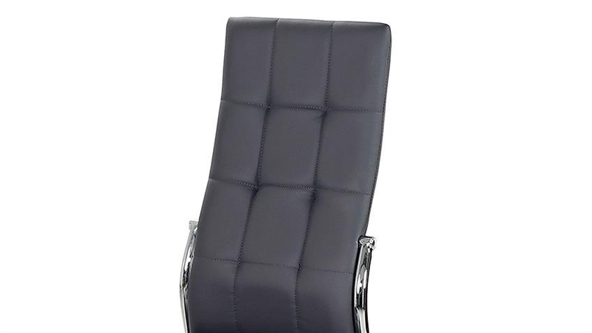 Stuhl Freiburg 4er-Set Esszimmerstühle in grau mit Karosteppung