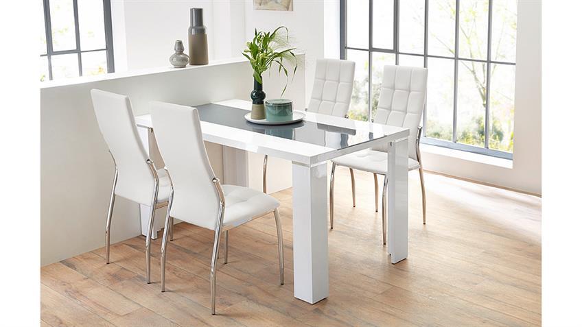 Stuhl FREIBURG 4er-Set in weiß mit Karosteppung