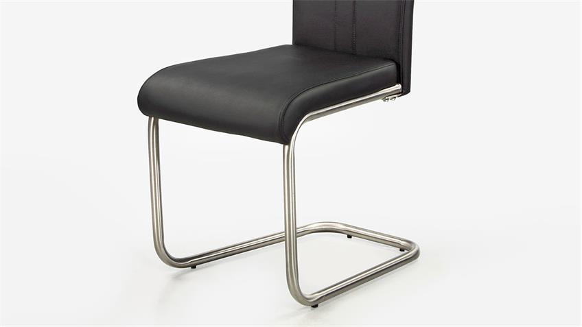 Schwingstuhl BREMEN 4er-Set Stuhl in schwarz mit Griff
