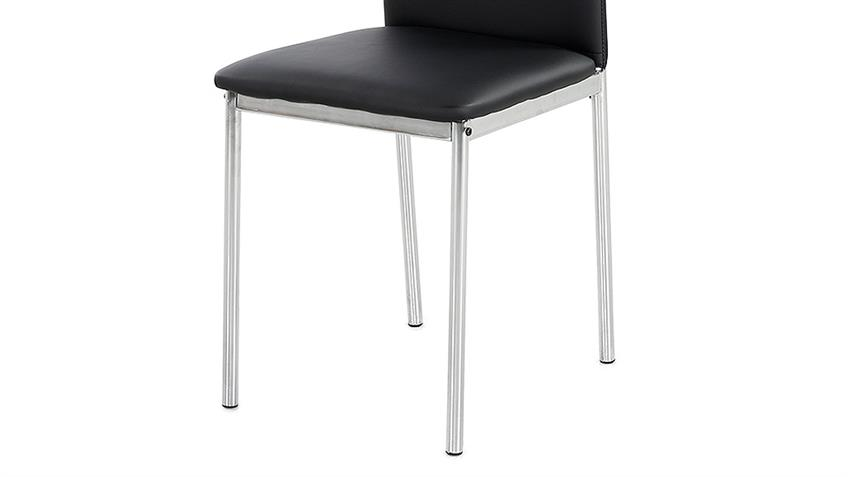 Stuhl FULDA 4er-Set Esszimmerstuhl in schwarz Chrom