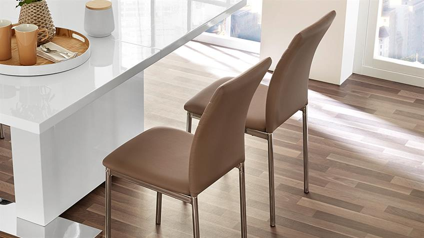Stuhl FULDA 4er-Set Esszimmerstuhl in cappuccino Chrom