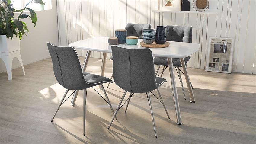 Stuhl OSLO 4er-Set Bezug grau Keder weiß Gestell Edelstahl